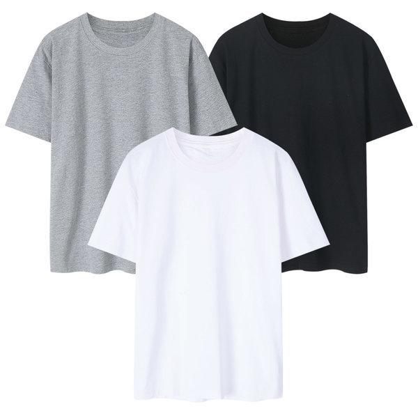 S~3XL 남여공용 빅사이즈 무지 면 라운드 반팔 티셔츠