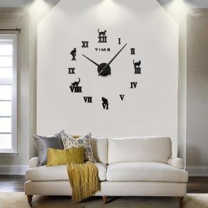 DIY 무소음 로마숫자 벽시계(실버) 벽시계 벽걸이시계