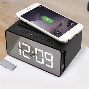 LED 탁상시계 휴대폰 무선충전 블루투스 스피커