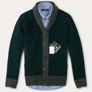(현대Hmall) FOREST CAMP Lambswool Cardigan/숄카라 배색 가디건 FCSW4406-Forest