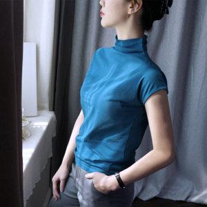 여자 스판 티 셔츠 무지 폴라 넥 반팔 반소매 T HMF461