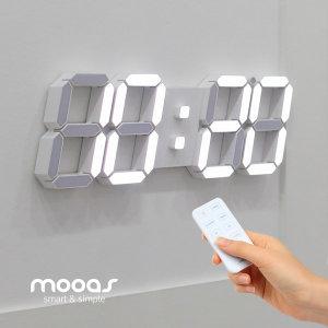 3D 거실 LED벽시계 무선 리모컨 빅플러스 화이트