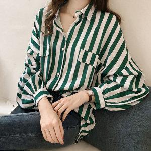 봄신상 스트라이프 난방 셔츠 줄무늬 가디건 루즈핏