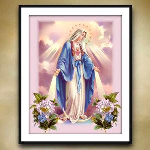 성모마리아(원형)3D 보석십자수 종교 도안 교회선물