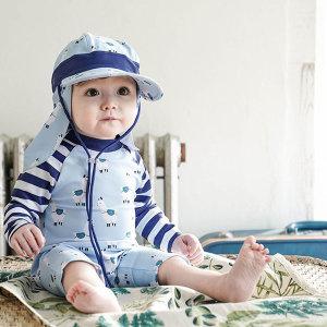 아동 유아 자외선 차단 수영모 플랩캡 라마 블루