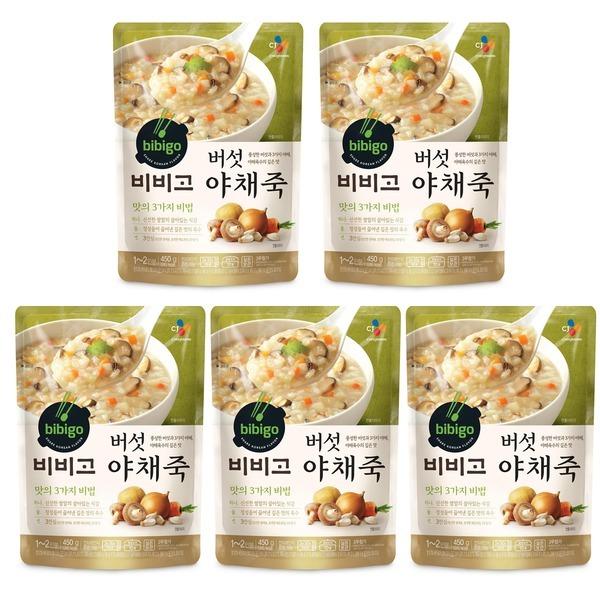 비비고 버섯야채죽 450g 5개/유통기한11.05