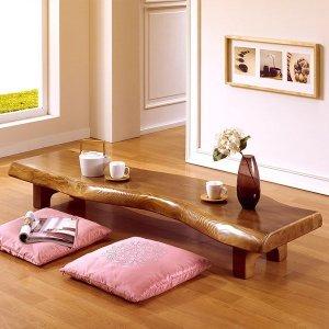 마루엔개비  자연림 다용도 긴 테이블 130사이즈  원목좌탁