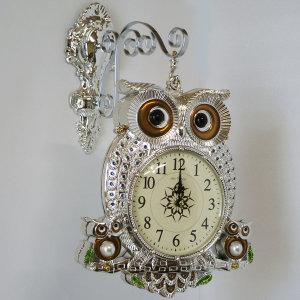 엣지부엉이 실버 양면 시계 무소음 인테리어 벽시계