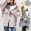 앙스블랑배색후드 루즈핏숏야상 방수 간절기점퍼035