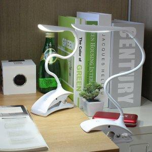 LED 충전식 USB 책상용 자바라 클립형 집게 스탠드 북