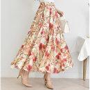 화사 스커트/나염 플라워 롱 치마 프린트 꽃무늬