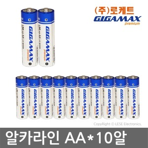 기가맥스 건전지 AAx10알/알카라인LR6/(주)로케트