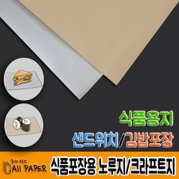 식품용지/식품포장용/노루지/크라프트지/김밥/햄버거