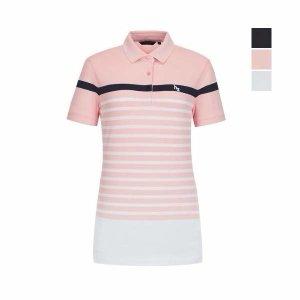 (현대백화점) 행운의2달러+사은품양말증정 헤지스골프 여성 핑크 컬러블록 반팔카라티셔츠(HWTS9B331)
