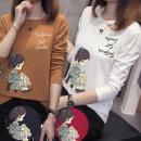 여성 소녀 TRANSFER 프핀팅 긴팔 티셔츠 예쁜 디자인