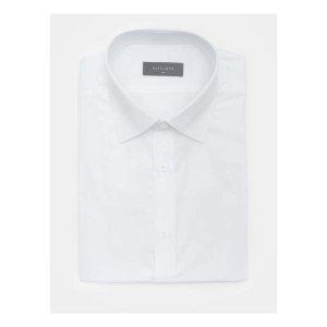 (현대Hmall) 로가디스  화이트 코튼 혼방 트윌 솔리드 반팔 셔츠 (MA9465FR11)