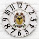 인테리어벽시계 큐트부엉이(대)-화이트/무소음시계