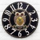 인테리어벽시계 큐트부엉이(대)-블랙/무소음시계 소품