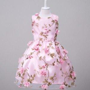 입체 꽃 무늬 자수 드레스