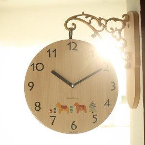 우드스타일 인테리어 무소음 양면 벽 시계 벽걸이시계