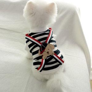 강아지옷 봄옷 멜빵 단가라 티셔츠