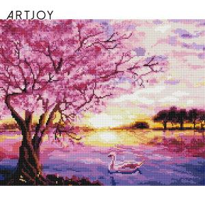 (아트조이)아트조이 DIY 보석십자수 액자형 벚꽃 호수