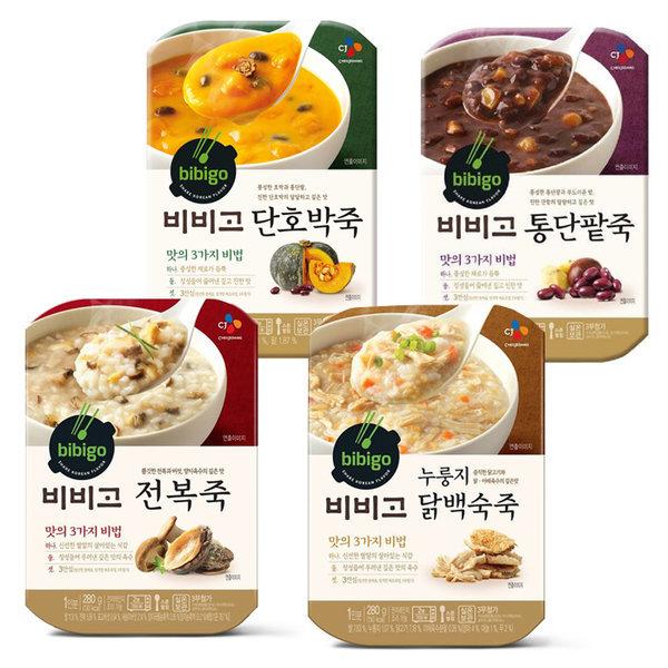 CJ 비비고 죽 4종묶음(통단팥/닭백숙/단호박/전복)