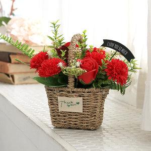 엔쵸장미 비누카네이션 레드 어버이날꽃바구니선물