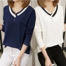 여성 V-NECK 콤비 라인 긴팔 티셔츠 봄가을 예쁜디자인