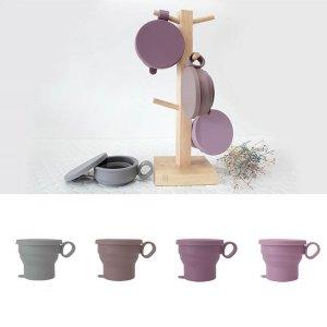 실리콘 휴대용 접이식 컵 뚜껑 포함 등산 캠핑 머그컵