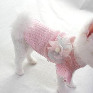 강아지옷 봄옷 꽃 골지 프릴티