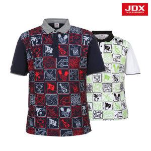 JDX  남성 앞전판프린트 요꼬에리 티셔츠 2종 택1 (X2NMTSM10)