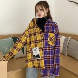 여성 언발 티 셔츠 캐주얼 반반 배색 봄 신상품 BID14
