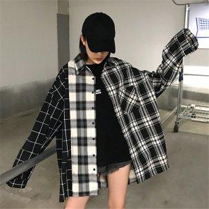 여성 언발 티 셔츠 캐주얼 반반 배색 봄 신상품 BID17