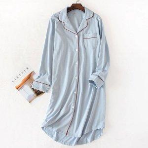 순면 셔츠 파자마 홈웨어 원피스 잠옷 수유잠옷