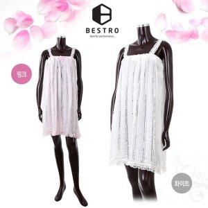 베스트로 미니리본 레이스 샤워랩가운  화이트/핑크   여성용