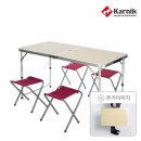 캠핑 폴딩테이블 야외테이블 CT-001(우드)+의자4개