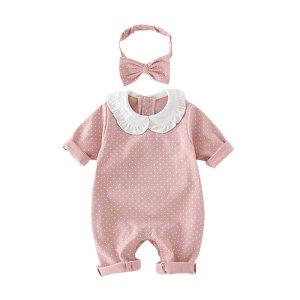 비올 헤어밴드 세트 우주복 신생아 여자 아기 외출복