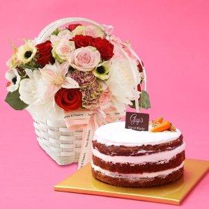 수제당근케익+레드마린  꽃배달 케익배달 비누꽃 생일 감사 기념일 이벤트 꽃다발 꽃바구니