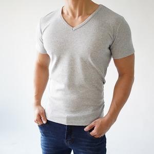 짱짱한 남자 면 스판 V넥 반팔 브이넥 티셔츠 슬림핏