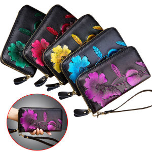 천연가죽 여성 장지갑 3D꽃무늬 지갑 핸드백 여성지갑