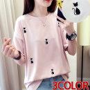 여성 CAT 자수 스판 반팔 티셔츠 여름 예쁜 디자인