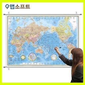 세계지도 중형 코팅족자형 1m 50cm X 1m 10cm