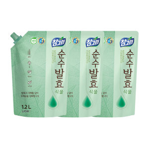 참그린 주방세제 순수발효 식물 1.2L 리필 3개