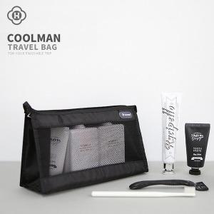 남자파우치 COOLMAN 남성 여행용 매쉬 세면 목욕가방