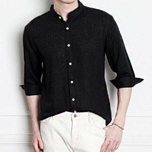 남자 여름 차이나 헨리넥 7부 린넨셔츠