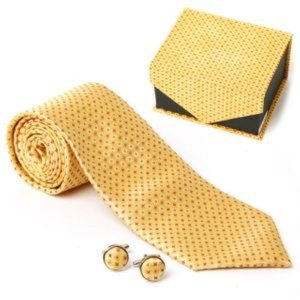 남자선물 옐로우 플라워 타이 커프스링크 세트 무늬넥
