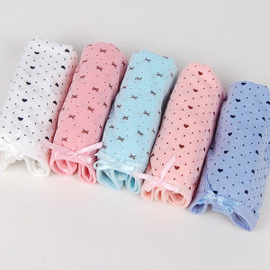 여성 주니어 면스판 삼각팬티 큐티리본(5매) 여자속옷