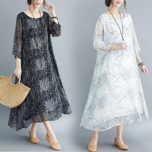 여성 패턴 데일리 칠부 소매시스루 롱 원피스 /하이스