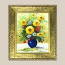 푸른화병 해바라기 그림액자 유화그림(초록) 3호